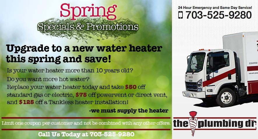 Spring plumbing - new water heater coupon